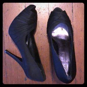 Peek toe black heels